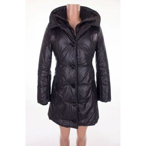 MACKAGE Quilted Parka XS Black Leather Trim Coat